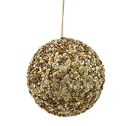 3.5 Inch Gold Sparkle Sequin Round Ornament