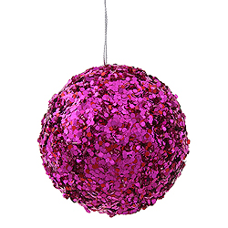 3.5 Inch Cerise Sparkle Sequin Round Ornament