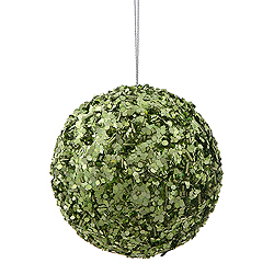 3.5 Inch Lime Sparkle Sequin Round Ornament