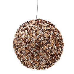 3.5 Inch Mocha Sparkle Sequin Round Ornament