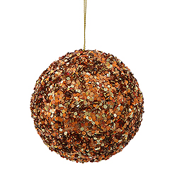 3.5 Inch Copper Sparkle Sequin Round Ornament