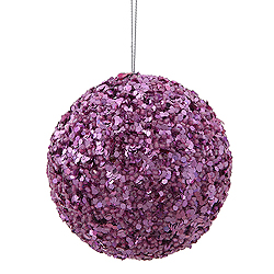 3.5 Inch Dark Mauve Sparkle Sequin Round Ornament