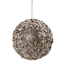 3.5 Inch Chocolate And Silver Sparkle Sequin Round Ornament