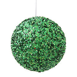 4.75 Inch Green Sparkle Sequin Round Ornament