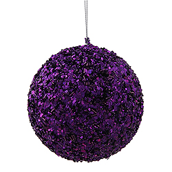 4.75 Inch Purple Sparkle Sequin Round Ornament