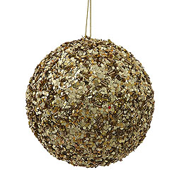 4.75 Inch Gold Sparkle Sequin Round Ornament