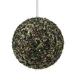 4.75 Inch Moss Green Sparkle Sequin Round Ornament