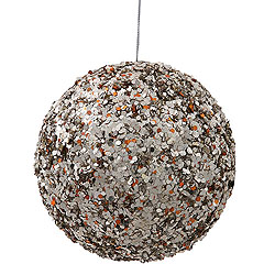 4.75 Inch Chocolate And Silver Sparkle Sequin Round Ornament
