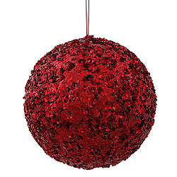 6 Inch Red Sparkle Sequin Round Kissing Ball Christmas Ornament
