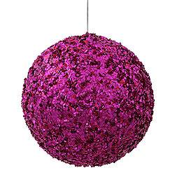 6 Inch Cerise Sparkle Sequin Round Kissing Ball Christmas Ornament