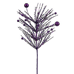 Purple Sequin Glitter Berry Artificial Decorative Spray Set of 12