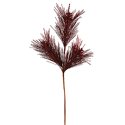 Burgundy Glitter Pine Cone Decorative Artificial Christmas Spray Set of 12