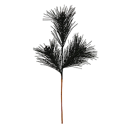 Black Glitter Pine Cone Decorative Artificial Christmas Spray