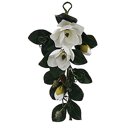 28 Inch White Magnolia Decorative Teardrop Wedding Floral Spray
