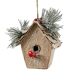 7 Inch Birch Bird House Icy Pine Berry Ornament