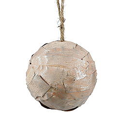 3.5 Inch Silver Birch Ball With Hanger 12 per Set