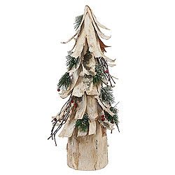 20 inch birch bark cone berry pine artificial christmas tree unlit - Birch Christmas Decorations