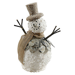 12 Inch Snowman With Burlap Hat and Scarf