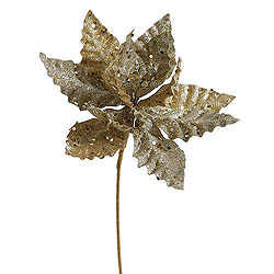 Champagne Sparkle Poinsettia Decorative Christmas Floral Pick