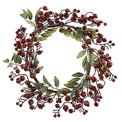 22 Inch Red Icy Berry Wreath