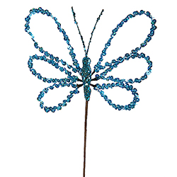 7.5 Inch Blue Sequin Butterfly Pick Set of 6