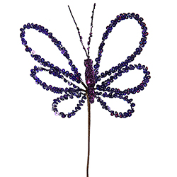 7.5 Inch Purple Sequin Butterfly Artificial Christmas Pick 6 per Set