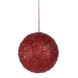 3 Inch Red Sequin Round Ornament