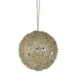 3 Inch Gold Sequin Round Ornament