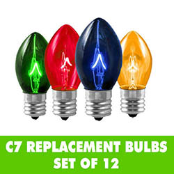Transparent Multi C7 Night Light Bulbs Set of 12
