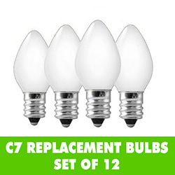 Ceramic White C7 Night Light Bulbs Set of 12