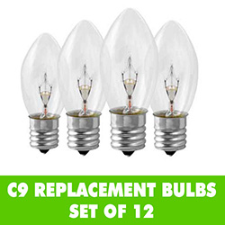 12 Incandescent C9 Transparent Clear Replacement Light Bulbs