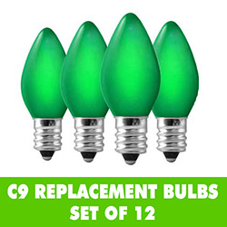 12 Incandescent C9 Ceramic Green Replacement Light Bulbs