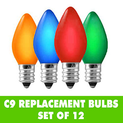 12 Incandescent C9 Ceramic Multi Color Replacement Light Bulbs