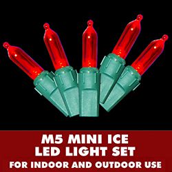 100 LED Smooth M5 Mini Red Lights 3.75 Inch Spacing Green Wire