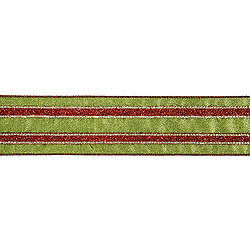 30 Foot Red And Green Striped Ribbon 2.5 Inch Width