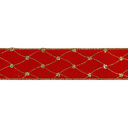 30 Foot Red Velvet Diamond Net Ribbon