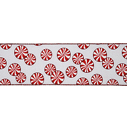 30 Foot Extra Wide Red And White Peppermint Ribbon