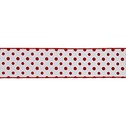 2.5 Inch x 10 Yard White with Red Dots Christmas Ribbon
