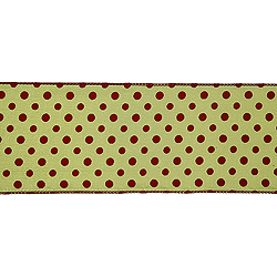 4 Inch x 10 Yard Sage with Red Dots Christmas Ribbon