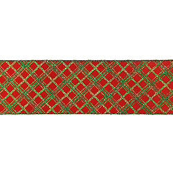 30 Foot Red And Green Diamond Check Ribbon