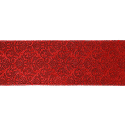 30 Foot Extra Wide Red And Gold Embossed Ribbon