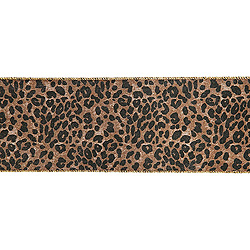 30 Foot Extra Wide Leopard Gold Back Ribbon