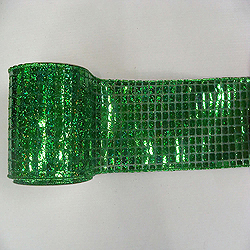 4 Inch x 10 Yard Green Mesh Metallic Check Christmas Ribbon