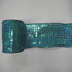 4 Inch x 10 Yard Blue Aqua Mesh Metallic Check Christmas Ribbon