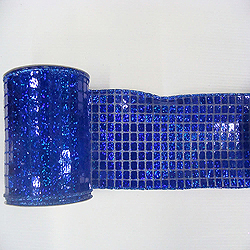 6 Inch x 10 Yard Cobalt Blue Mesh Metallic Check Christmas Ribbon
