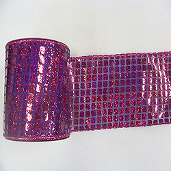4 Inch x 10 Yard Fuschsia Mesh Metallic Check Christmas Ribbon