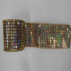 4 Inch x 10 Yard Black and Gold Mesh Metallic Check Christmas Ribbon