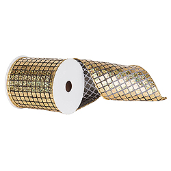 6 Inch x 10 Yard Black and Gold Mesh Metallic Check Christmas Ribbon