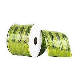 30 Foot Lime Striped Ribbon 2.5 Inch Width