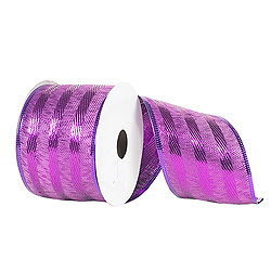 30 Foot Purple Striped Ribbon 2.5 Inch Width